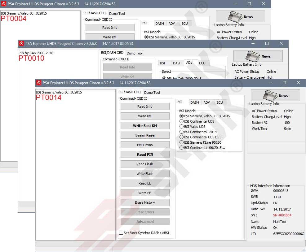 PSA BSI OBD (PTP1)