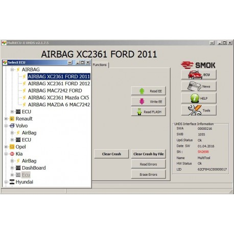 EU 0014 Ford/Volvo Clear Crash Dump OBD